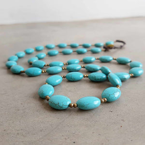 Stone + Fibre Knotted Strand Necklace Handknotted. Turquoise