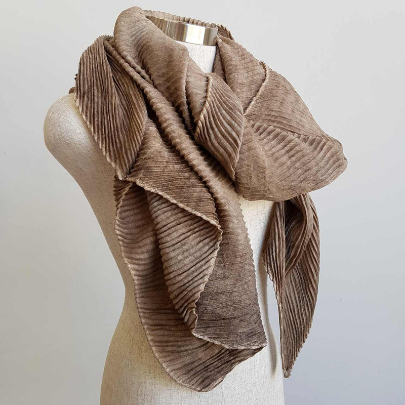 The Soprano Scarf Wrap soft crease pleat. Beige