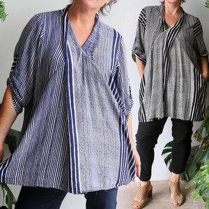 Apres Spa women's tunic top with striped pattern. One-size fit with mid-length sleeve and button feature kaftan top. Made with easy-care rayon fabric.
