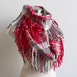 Ivy Infinity Scarf - Winter knit plaid accessory in funky snood style. Red / Silver.