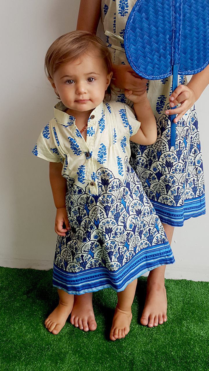 Stunning little girls 100% cotton summer shirt dress with short sleeve, mandarin collar + side ties. Blue + lemon.