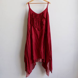 Long, layered, free-flowing summer maxi dress made with 100% cotton.  Free size style that fits well on a bust up to 120cm. Sangria Red.
