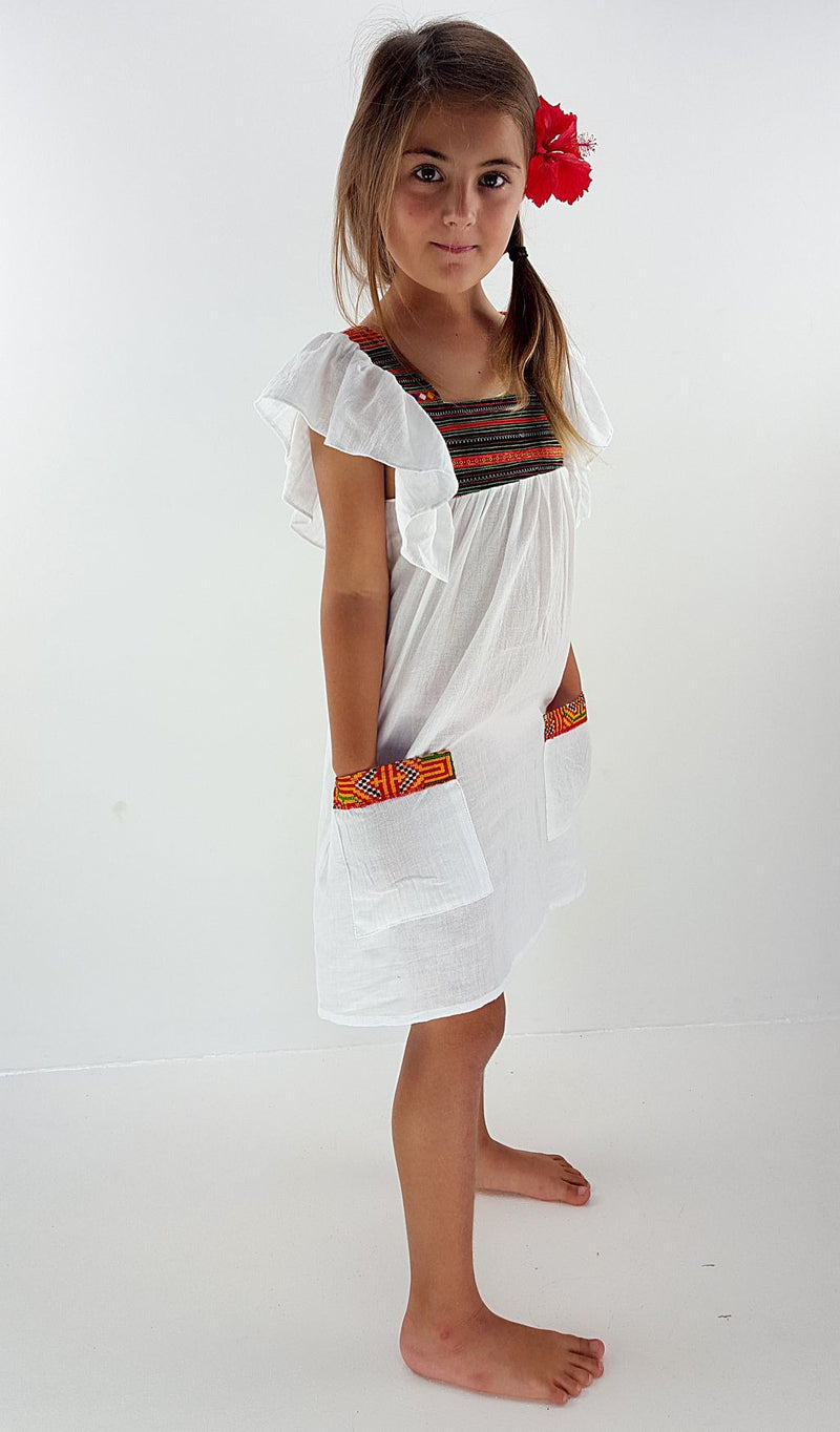 0c26272be24 Girls Soft cotton coco Hill Tribe Kaftan Dress - white.