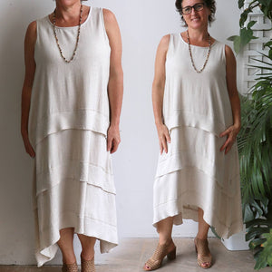 Chic linen-look long shift dress in natural style to suit plus size.