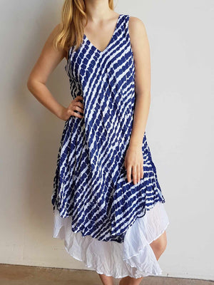 Quality 100% cotton layered sun dress, perfect for summer. One size dress, fitting size 10 to 18, bust size up to 120cm. Indigo Blue.