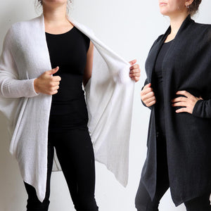 Fame Cardigan is a handy autumn-winter knit with batwing shaping giving plenty of room for all sizes. Versatile enough to throw over light and heavy layers. Available in sizes S/M - L/XL.
