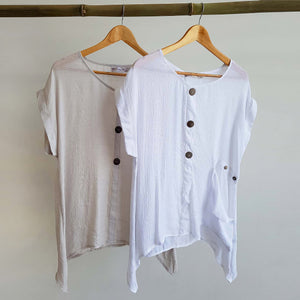 Light+ floaty 3 button sheer blouse / short sleeve top. White and Moonshine