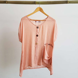 Light+ floaty 3 button sheer blouse / short sleeve top. Blush Pink.