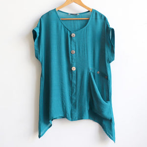 Light+ floaty 3 button sheer blouse. Short sleeve women's summer top. Made in Cotton/Poly blend. Deep Teal.