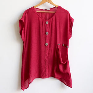 Light+ floaty 3 button sheer blouse / short sleeve top. Sangria.