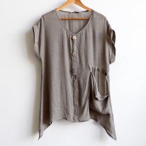 Light+ floaty 3 button sheer blouse / short sleeve top. Stone.