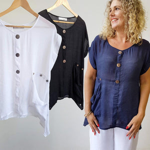 Light+ floaty 3 button sheer blouse. Short sleeve women's summer top. Made in Cotton/Poly blend.