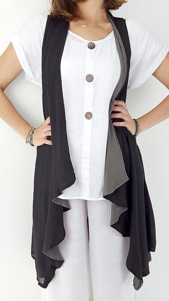 Lightweight reversible sleeveless draping long cardigan - Black/charcoal.