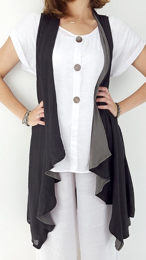Long length, sleeveless draping cardigan designed for layering- Black/charcoal.