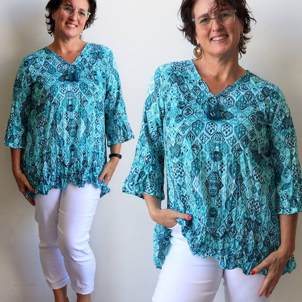 Summer Time Blues women's Tunic Top made from 100% cotton. Sizes 10-20.