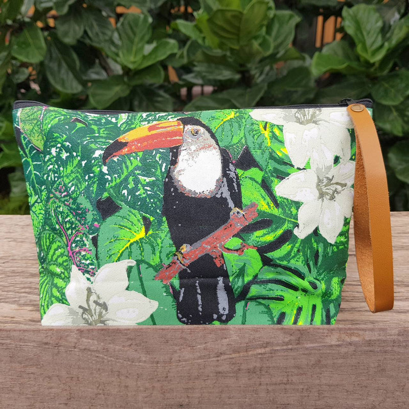 Anything Goes Clutch Bag zippered purse great for cosmetics, with a washable lining. Toucan.