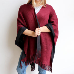 Broadway Knit Blanket Wrap - reversible colour winter poncho style. Wine Red/Black.