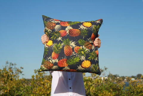 Cushion Cover - Rich Pineapple Print on Denim