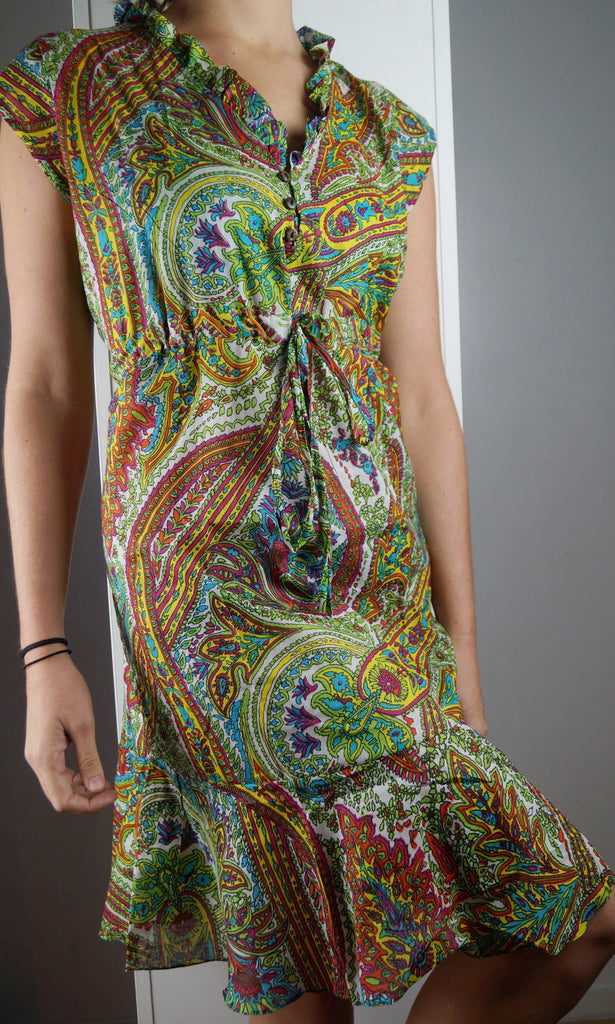 Greta Dress below-the-knee style cotton summer sun dress in paisley.