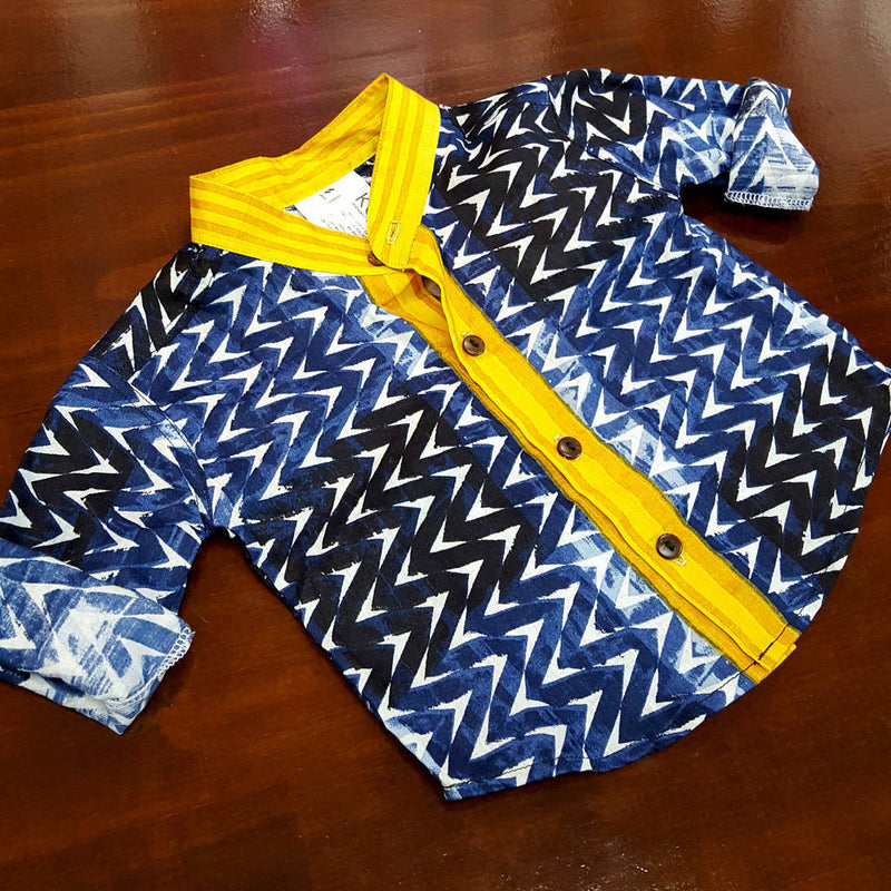 boy's mandarin collar button up shirt in navy geometric print with contrasting yellow features. Baby boys to tween boy sizes.