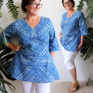 Women's short sleeve summer cotton top with under-bust seaming and a-line shaping. Made with 100% cotton in sizes 10-20