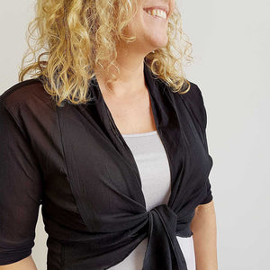 The chicago stretch mesh ballet wrap cardigan jacket + plus size available. Black