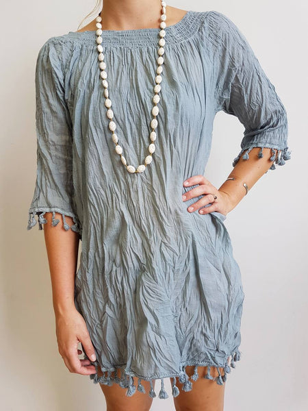 Cotton Tree Mini Beach Lightweight Dress. Crinkle Cotton Collection. Tassle 3/4 sleeve. Silver Grey.