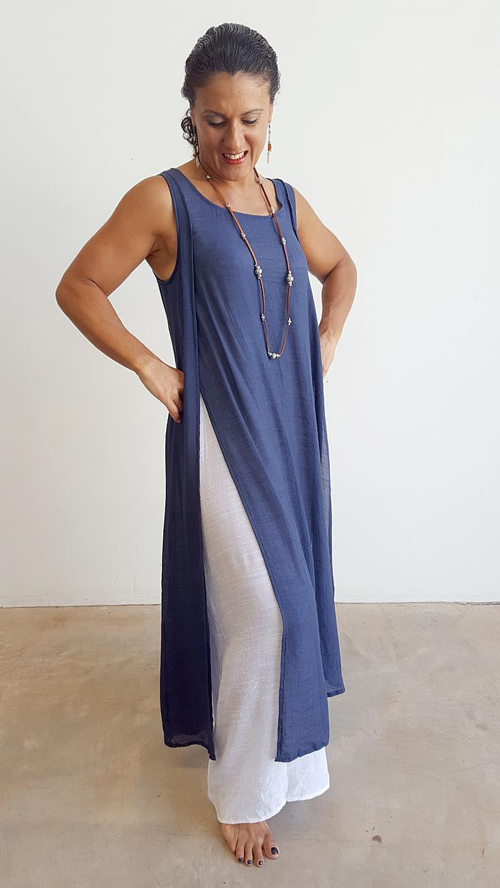 Light + floaty soft cotton blend sleeveless layer maxi dress. This gem is a super cool summer dress + suitcase friendly. Navy