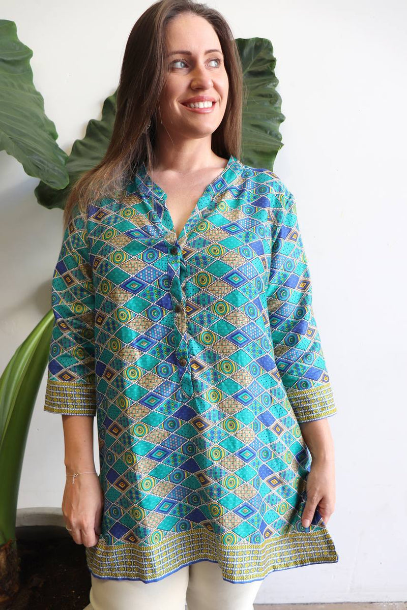 Sunshine Women's Kurta Top - Sand + Sea Mosaic. Available in sizes S - XXXL.