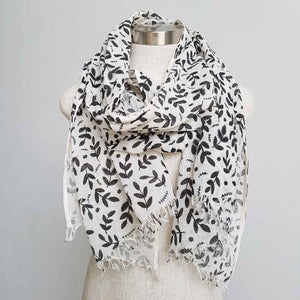 Natural cotton printed scarf fern print. Delicate + soft to touch. White with black.