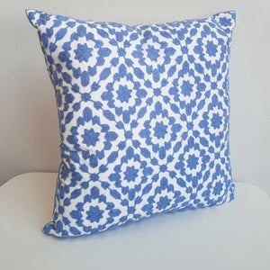 Cotton Embroidery Cushion Cover / Clovelly French Blue.