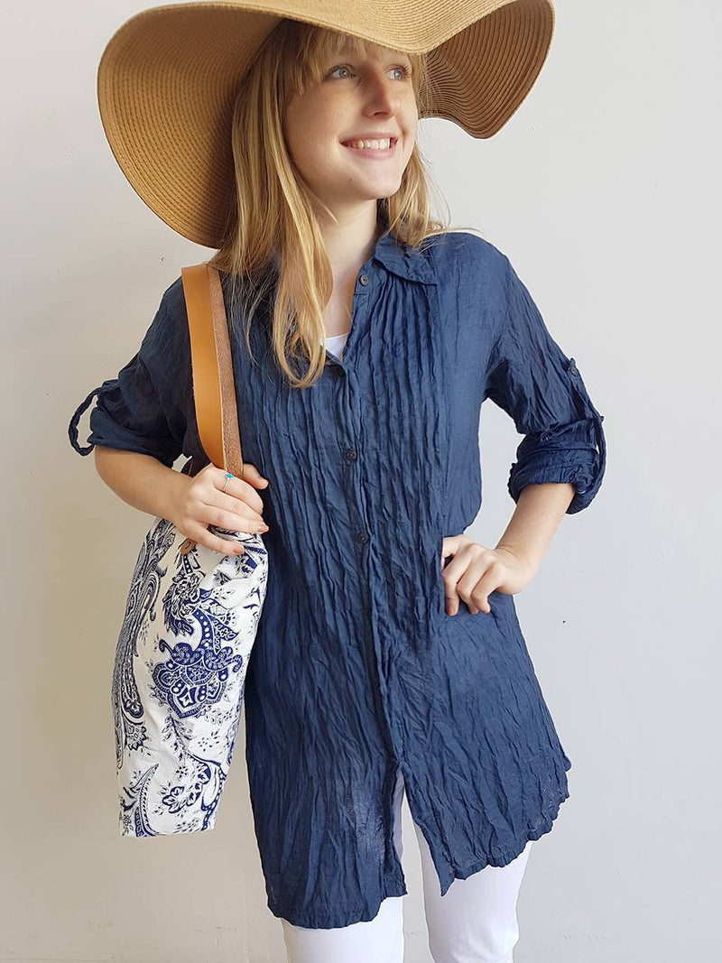 Shirt Maker Tunic Top All Natural Crinkle Cotton Button Up 3/4 Sleeve + collar.  Navy Blue