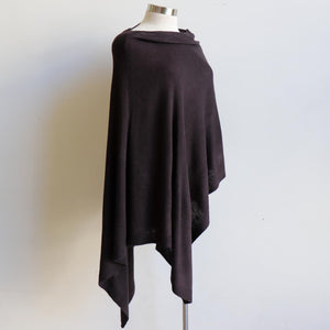 Women's Fine Knit Poncho Wrap. Elegant & versatile winter top can be worn multiple ways, one fit sizing. Made with easy-care acrylic fibre. Black.