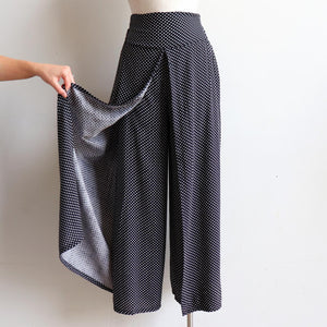 Free Spirit Wrap Pant in Polka Dot, a classic wide-leg palazzo style for summer and winter wardrobes. Side open view.