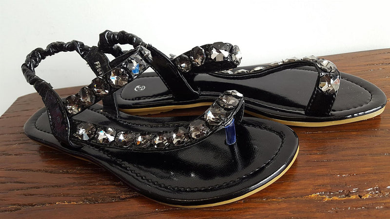 Easy slip-on, slip-off elastic ankle strap summer sandal with bling! Fantastically comfy womens summer shoe for casual or smart occasions. Black.