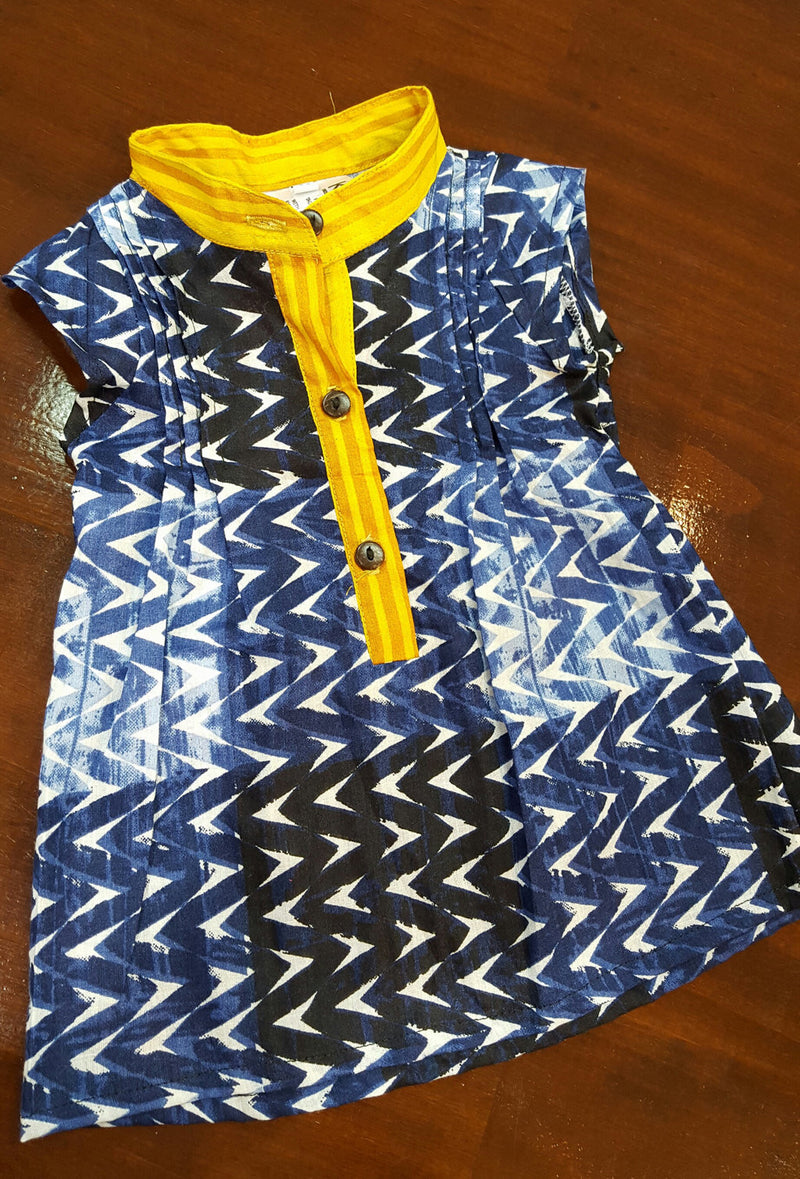 Little Annie girl's cotton shirt dress. Funky navy geometric print. Sizes to fit 6 month old baby girl to 12 year old.