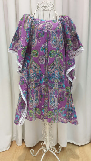 Girls Beach Kaftan Top Dress - Purple Paisley