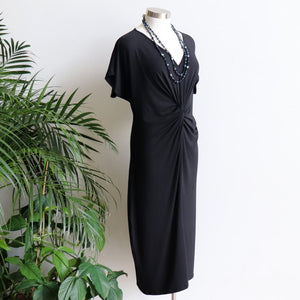KOBOMO Twist Dress in luxe bamboo stretch fabric available in plus size fitting.