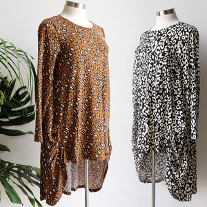 Long Sleeve t-shirt style winter tunic in a sassy animal print. Featuring a hi-lo hemline that layers well with jeggings, made with a soft brushed cotton/poly stretch fabric. Available in sizes 10-18.