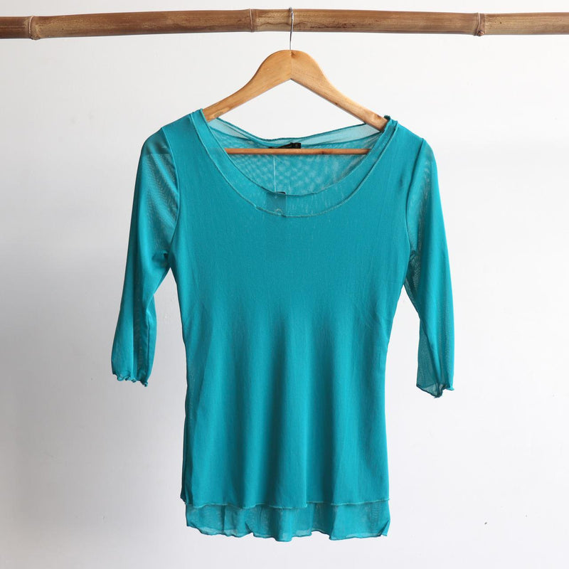 Seattle Stretch Mesh Top in Teal.