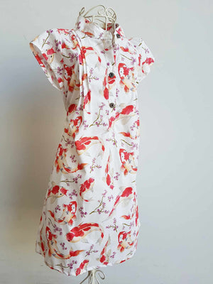 Annie Cotton Shirt Dress for Girls - Japanese Koi / White