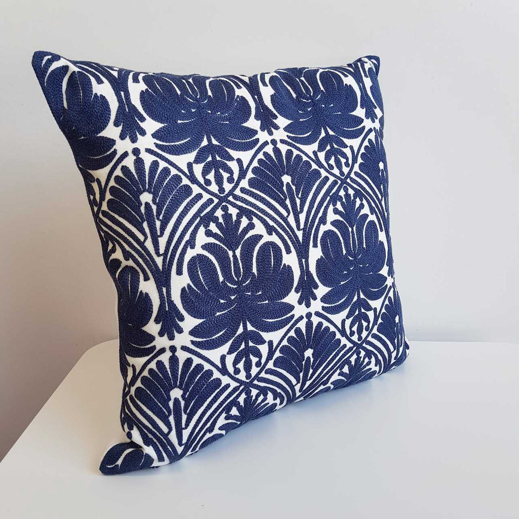 Cotton Embroidery Cushion Cover / Manly Navy Blue Intricate Symmetrical Pattern.