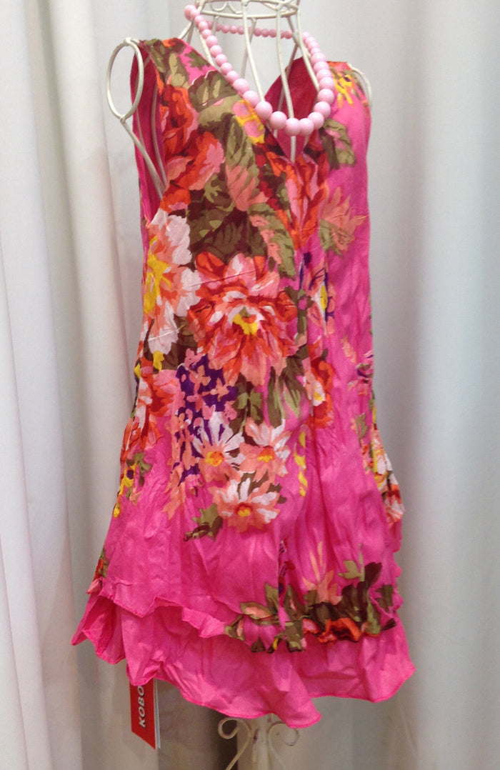 Girls Pink Floral Layer Dress
