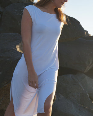 Dress Me Up in Bamboo - sleeveless slip designed to layer under sheer evening wear or kaftans. White. Side splits view.