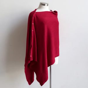 Cold Snap Knit Wrap - Convertible winter button scarf, poncho and shrug all in one. Red.