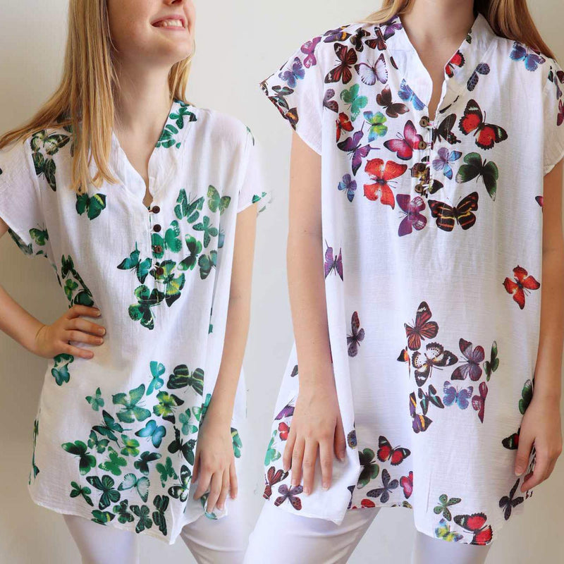 c972b50b3f57 Easy Fit Cotton Cap Sleeve Tunic Top - Butterfly