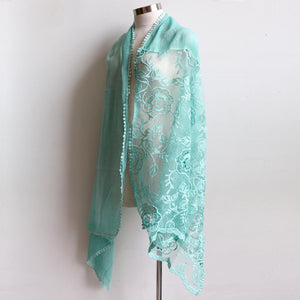 A Fine Romance Scarf a wonderfully over-sized lace net scarf. A fabulous soft vintage-inspired accessory. 190cm Length + 88cm Width. Mint.