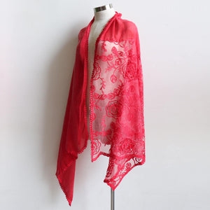 A Fine Romance Scarf a wonderfully over-sized lace net scarf. A fabulous soft vintage-inspired accessory. 190cm Length + 88cm Width. Red.