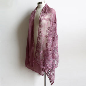 A Fine Romance Scarf a wonderfully over-sized lace net scarf. A fabulous soft vintage-inspired accessory. 190cm Length + 88cm Width. Vintage Rose.