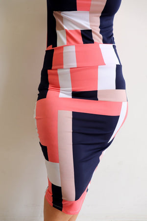 Abstract Women's Pencil Tube Skirt. Ethically handmade limited edition design by Kobomo.